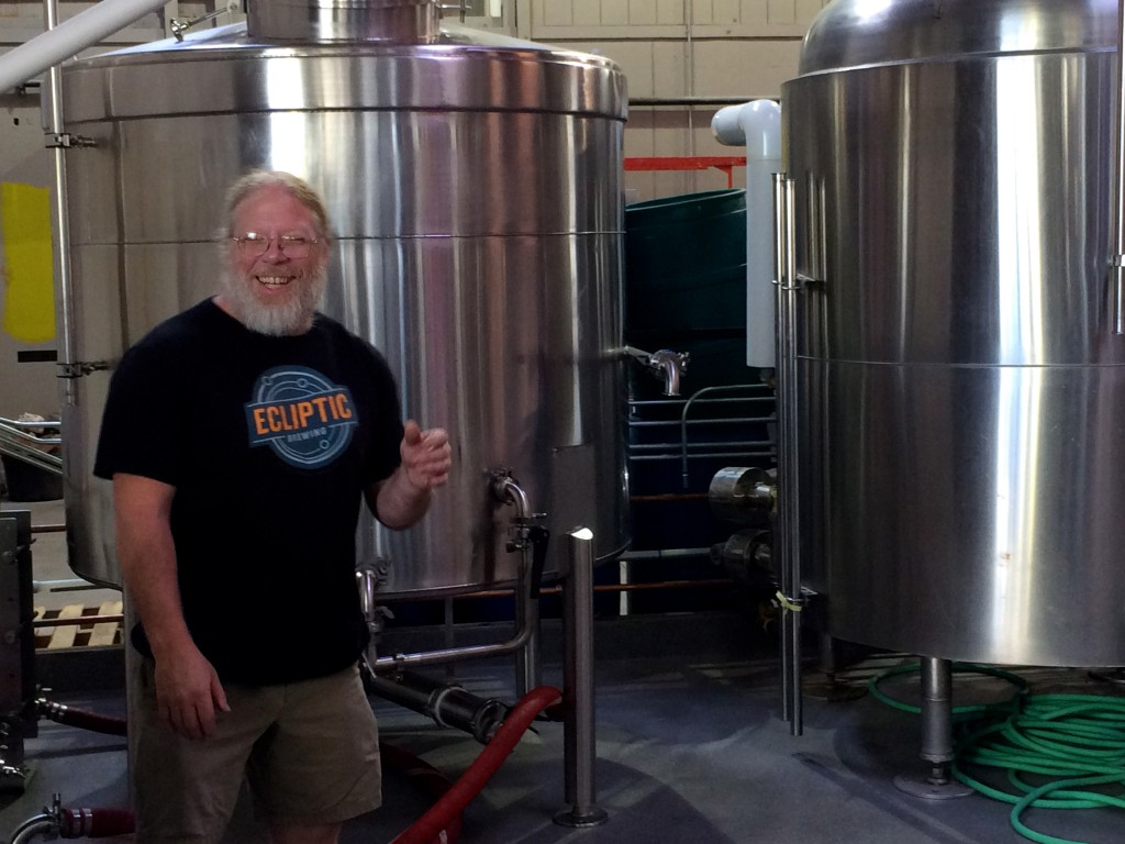 John Harris in the brewery at Ecliptic Brewing
