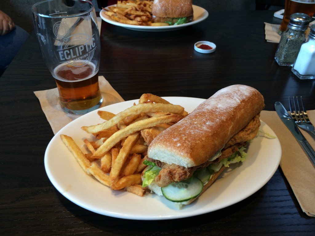 Trout Po' Boy at Ecliptic Brewing