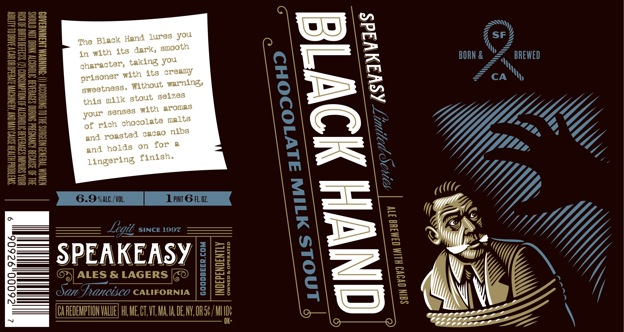 Speakeasy Black Hand Chocolate Milk Stout Label