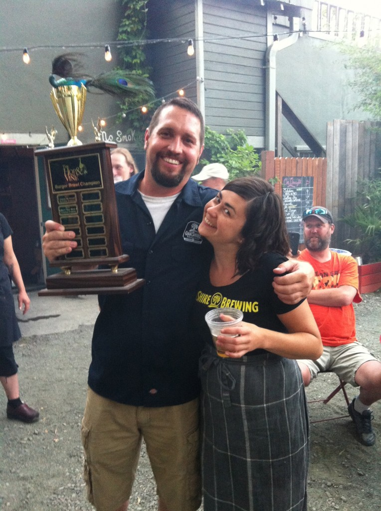 Oakshire's Matt Van Wyk With Hop & Vine's Yetta Vorobik at 2013 Burger Brawl