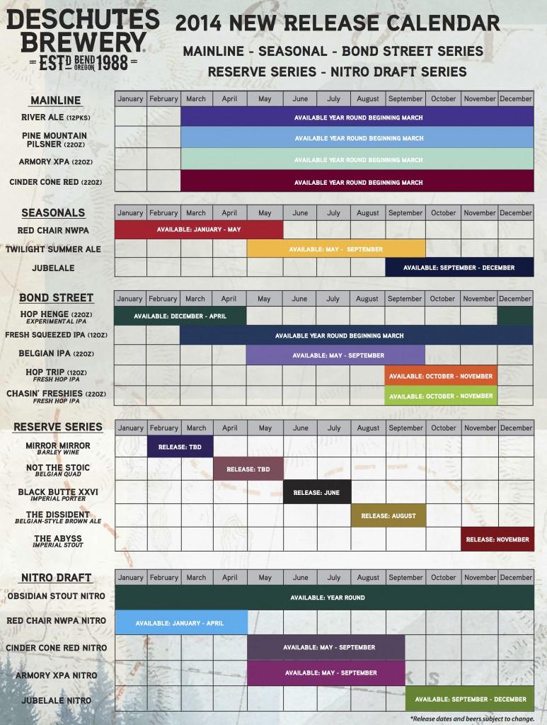 Deschutes Brand Calendar 2014