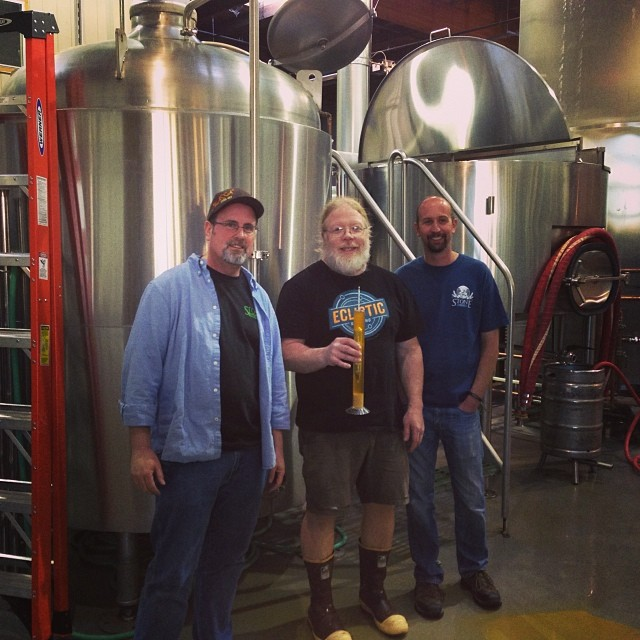 John Harris (center) with Mitch and Jeremy from Stone Brewing