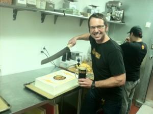 Hopwork's Christian Ettinger Cutting the Cake