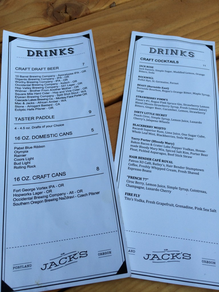 Dr Jacks Drink Menu