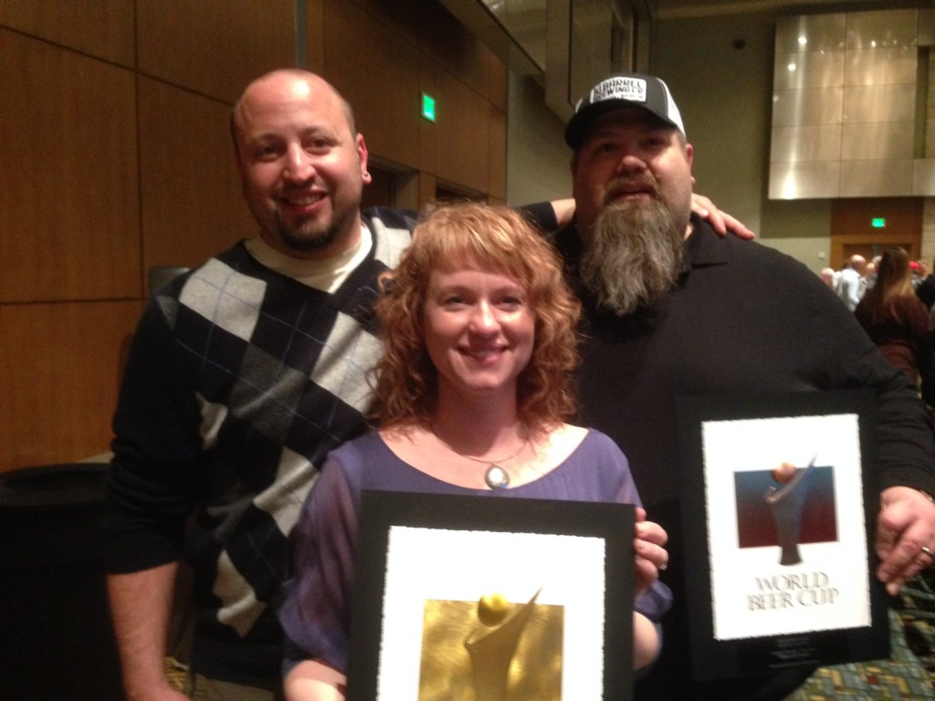 Jimmy, Tonya and Shawn Showing Their Bi-State 2014 World Beer Cup Awards (photo courtesy of Shawn Kelso)