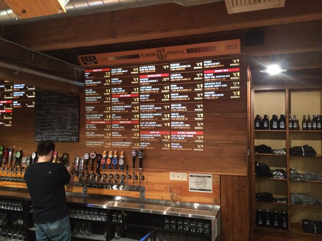 Tap and Growler Projected Beer Menu