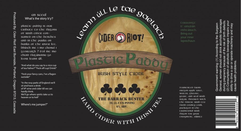 Cider Riot! Plastic Paddy Label