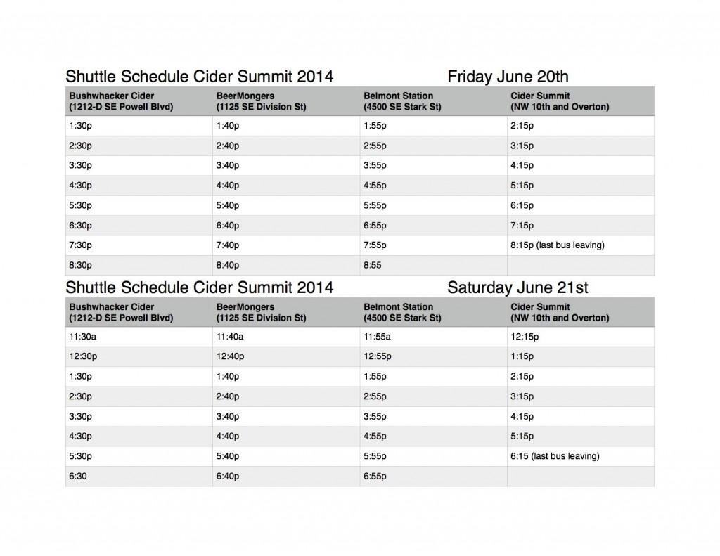 Cider Summit Shuttle Schedule