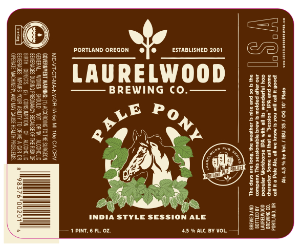 Laurelwood Pale Pony India Style Session Ale