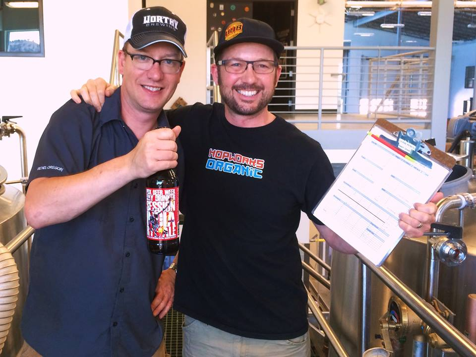 Chad of Worthy with Christian of HUB (photo courtesy of Hopworks Facebook page)