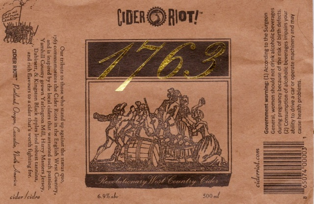 Cider Riot! 1763 Label