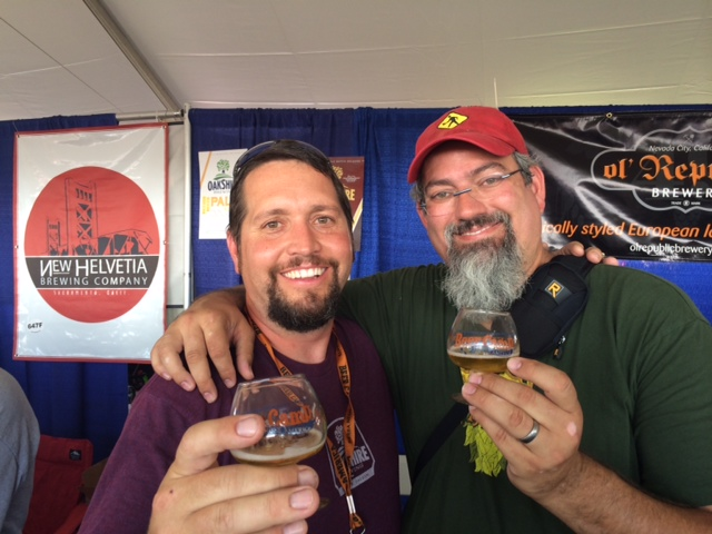 Oakshire's Matt Van Wyk & Homebrew Chef Sean Paxton with an Oakshire Hermanne 1882 at Sierra Nevada Beer Camp