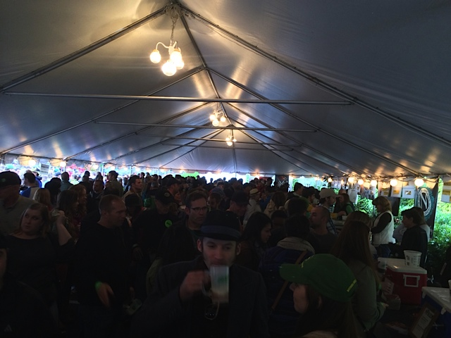 The crowd under the tent at 2013 Hood River Hops Fest