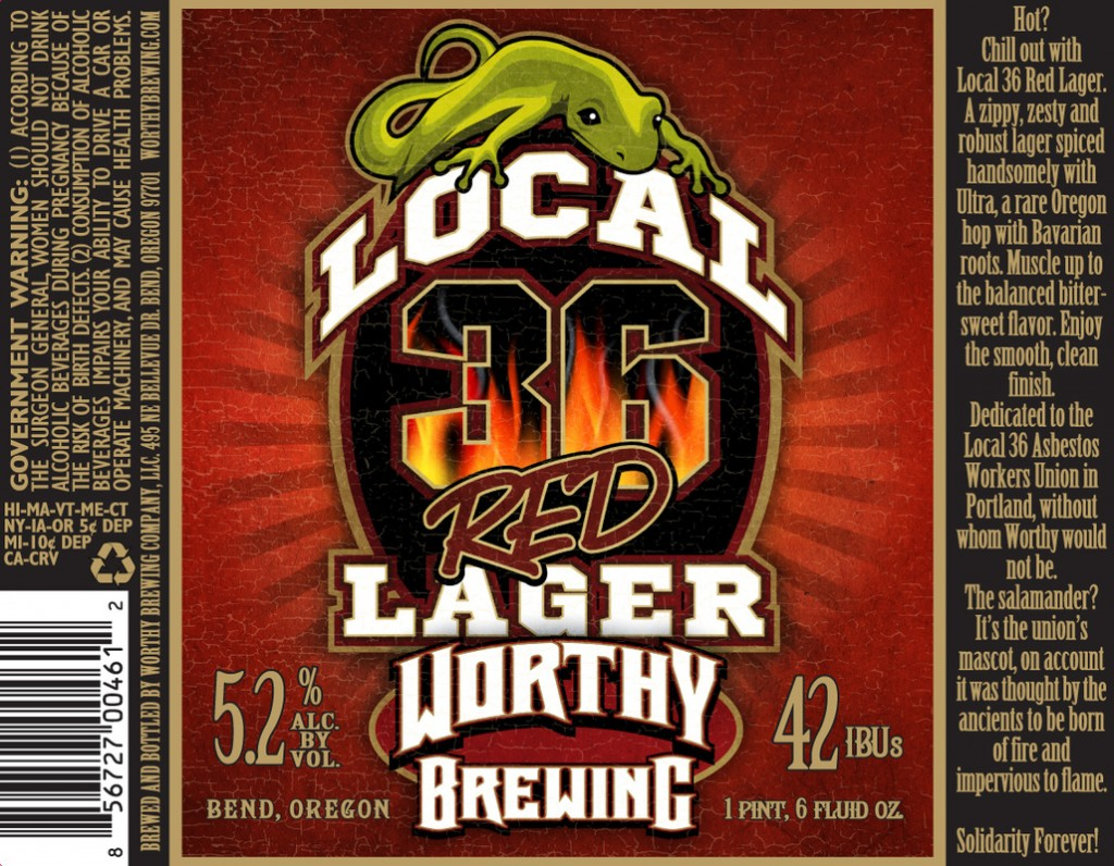 Worthy Local 36 Red Lager Label