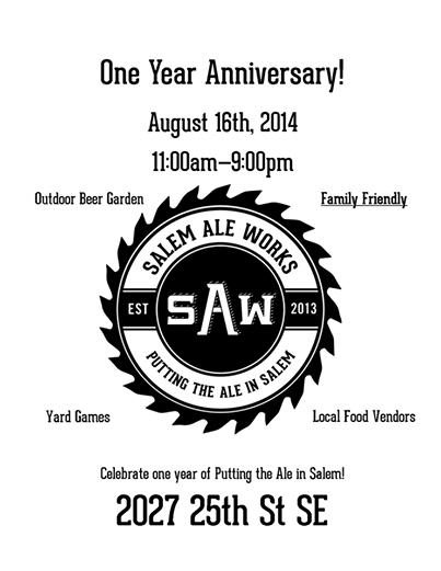 Salem Ale Works One Year Anniversary