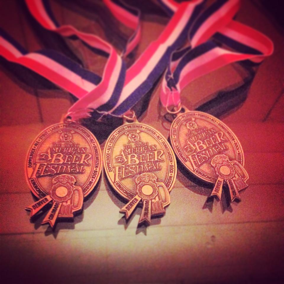 10 Barrle Brewing's 3 GABF Medals (photo courtesy of 10 Barrel's Facebook Page)