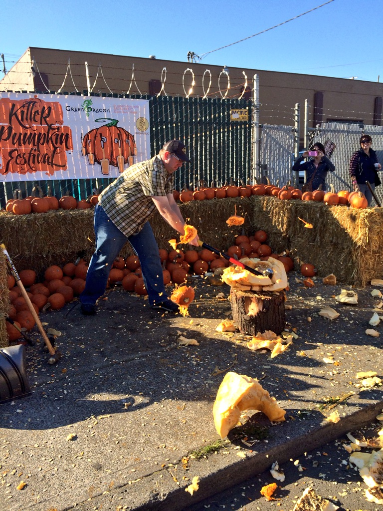 Brewpublic's D.J. Paul Pumpkin Smashing at Killer Pumpkin Festival