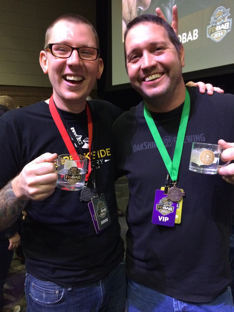 Breakside Brewery's Jacob Leonard and Oakshire Brewing's Matt Van Wyk Celebrate their Medals at 2014 FoBAB