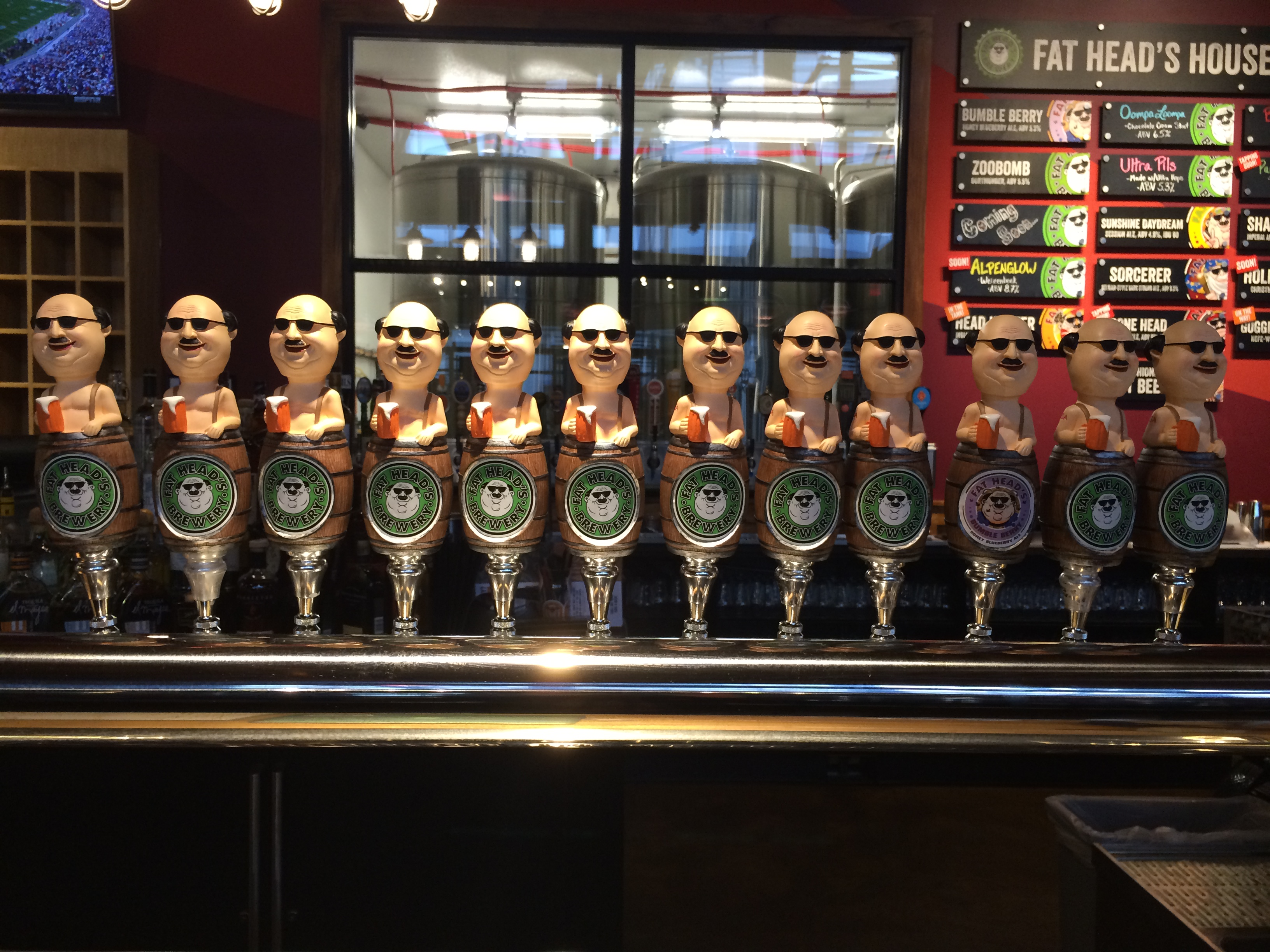 Fat Head's taphandles at the Fat Head's Brewery in Portland's Pearl District.