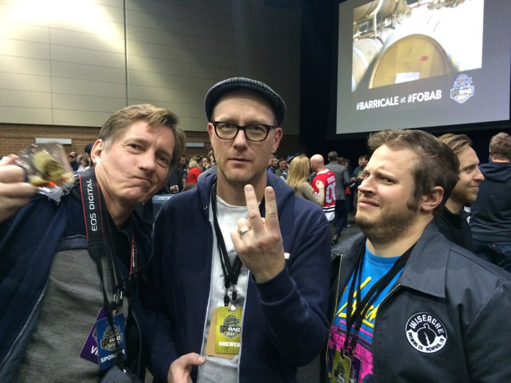 Siebel Institute's Keith Lemcke, Gignatic Brewing's Van Havig and Wiseacre Brewing's Davin Bartosch strike it up at the 2014 FoBAB