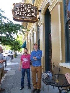 Adam and Bolt with Old Town Pizza (back in July 2014)
