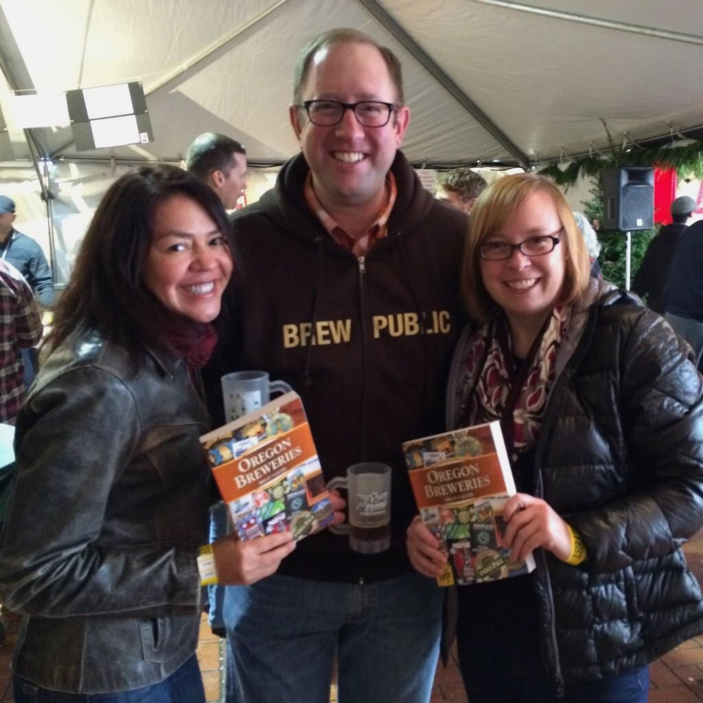 Hilda Stevens, D.J. Paul and Cat Stelzer excited to read Brian Yaeger's new book, Oregon Breweries