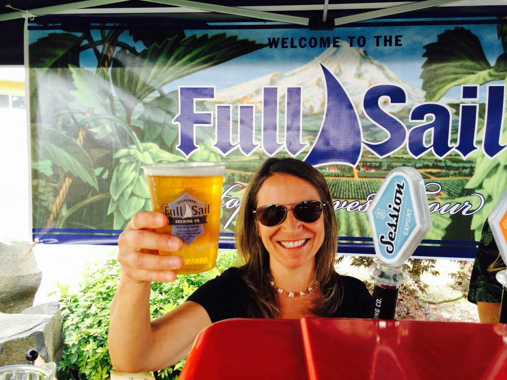 Sandra Evans serving a Full Sail Session Export Premium Golden Lager