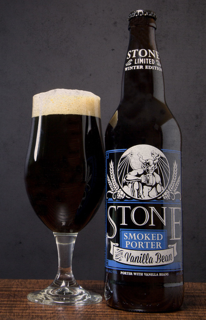 Stone Smoked Porter w:Vanilla Bean Bottle and Glass