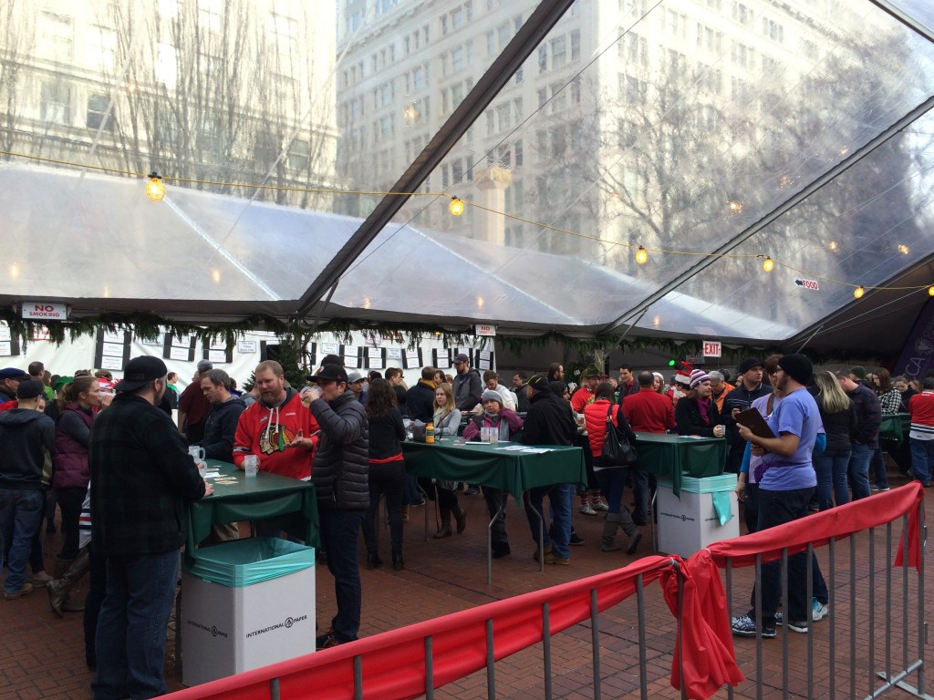 Under the tents at the Holiday Ale Festival