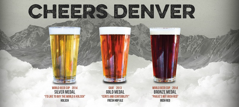 Cheers at Denver - Old Town Brewery's award winning craft beers under Bolt Minister