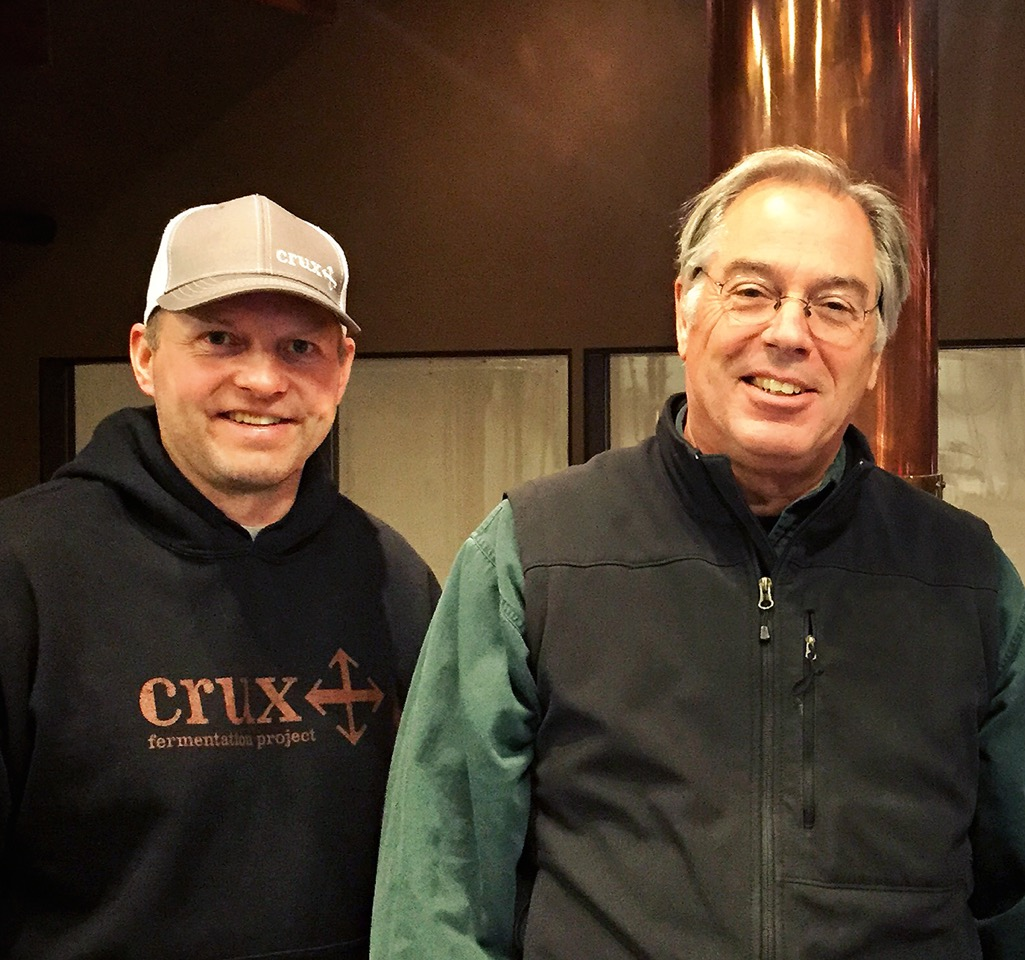 Both former Deschutes brewers, Cam O'Connor (left) joins Larry Sidor (right) and the Crux Fermentation Project team