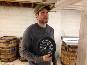 Amnesia Brewer Sean Thommen shows us how consistent the temperature remains in the cellers of the brewery
