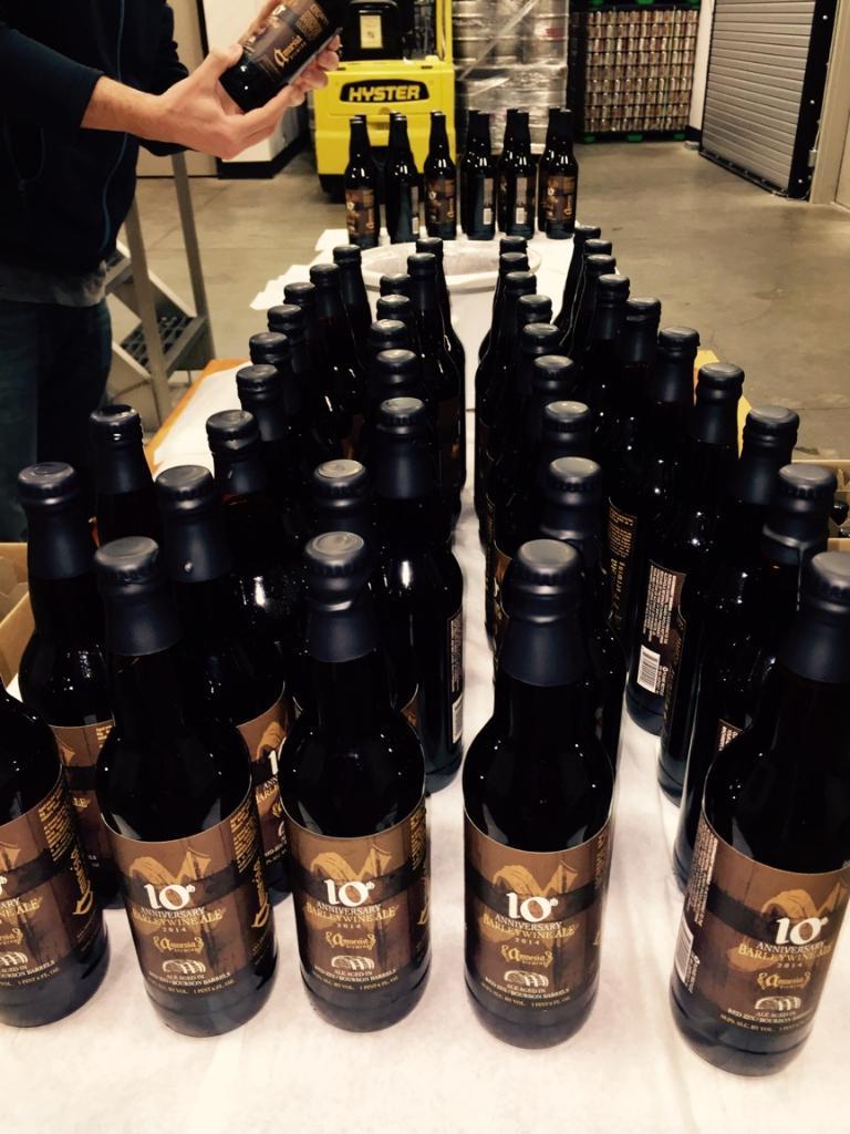Wax-dipped 22-ounce bottles of Amnesia's 10th anniversary barlelywine