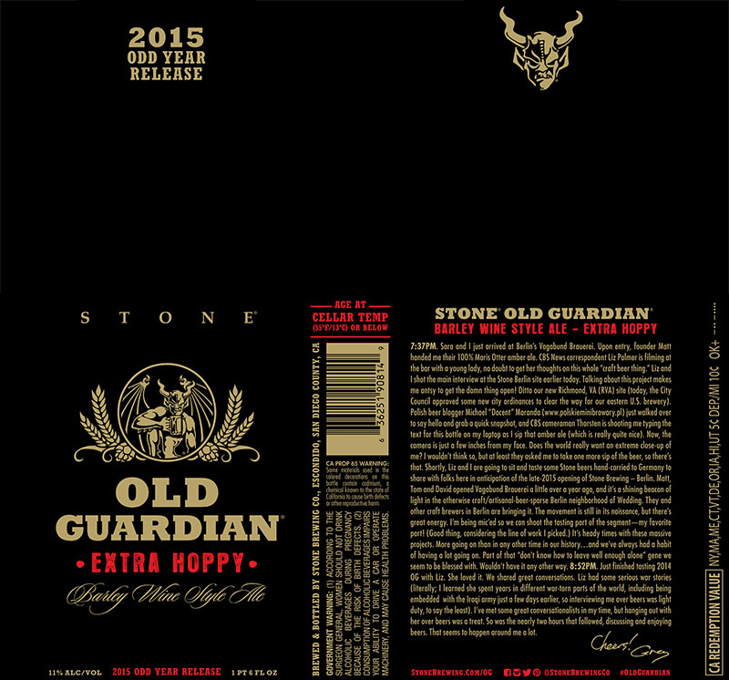 Stone Old Guardian Extra Hoppy Barleywine