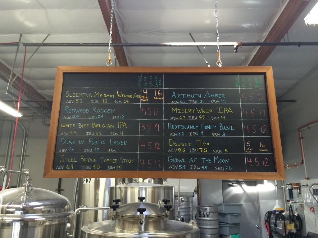 Salem Ale Works Menu Board