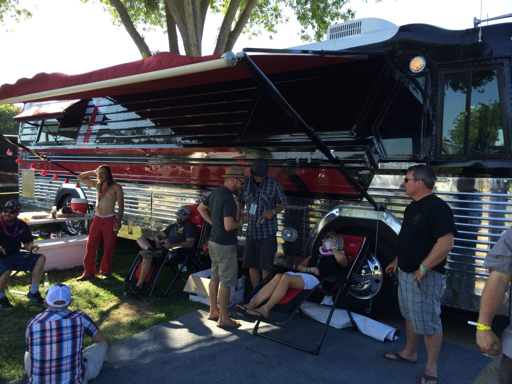 Relaxing at the Boneyard Tour Bus at 2014 Firestone Walker Invitational Beer Fest