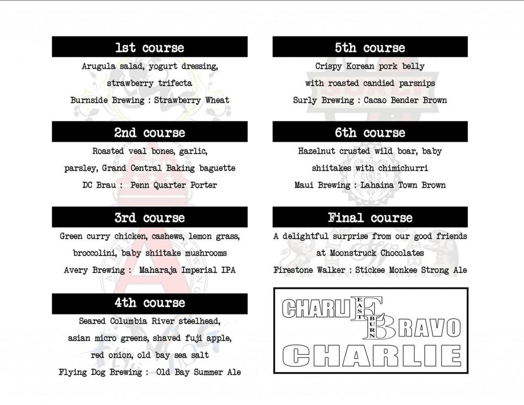 CharlieBravoCharlie Food & Beer Menu Eastburn