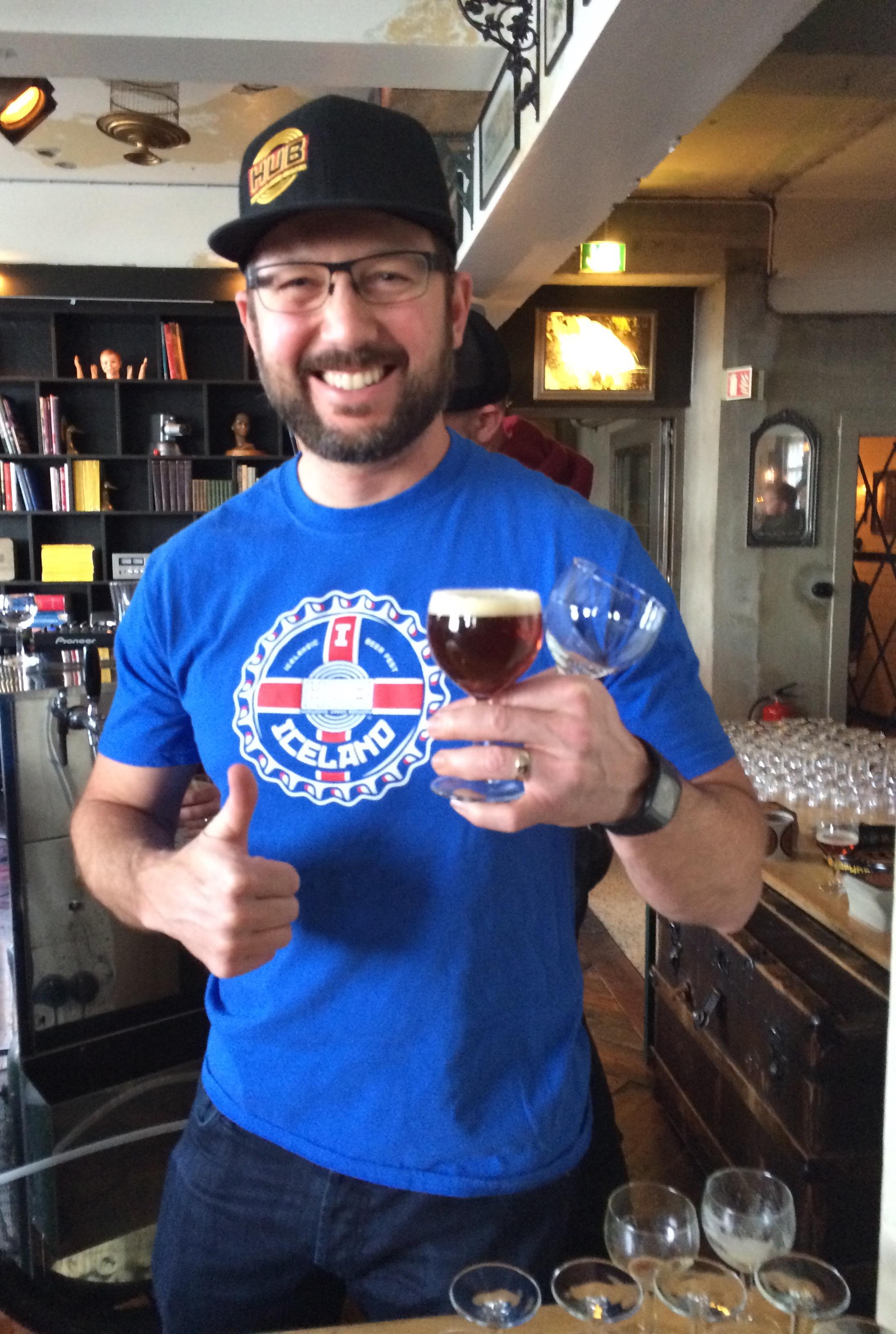 Christian Ettinger pouring Hopworks at Icelandic Beer Fest