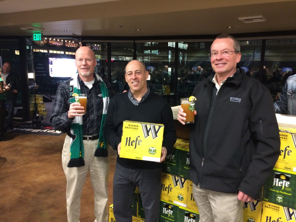 Rob Widmer, Mike Golub and Kurt Widmer at the Widmer Brothers Brewing Portland Timbers Co-Branding Hefeweizen Party