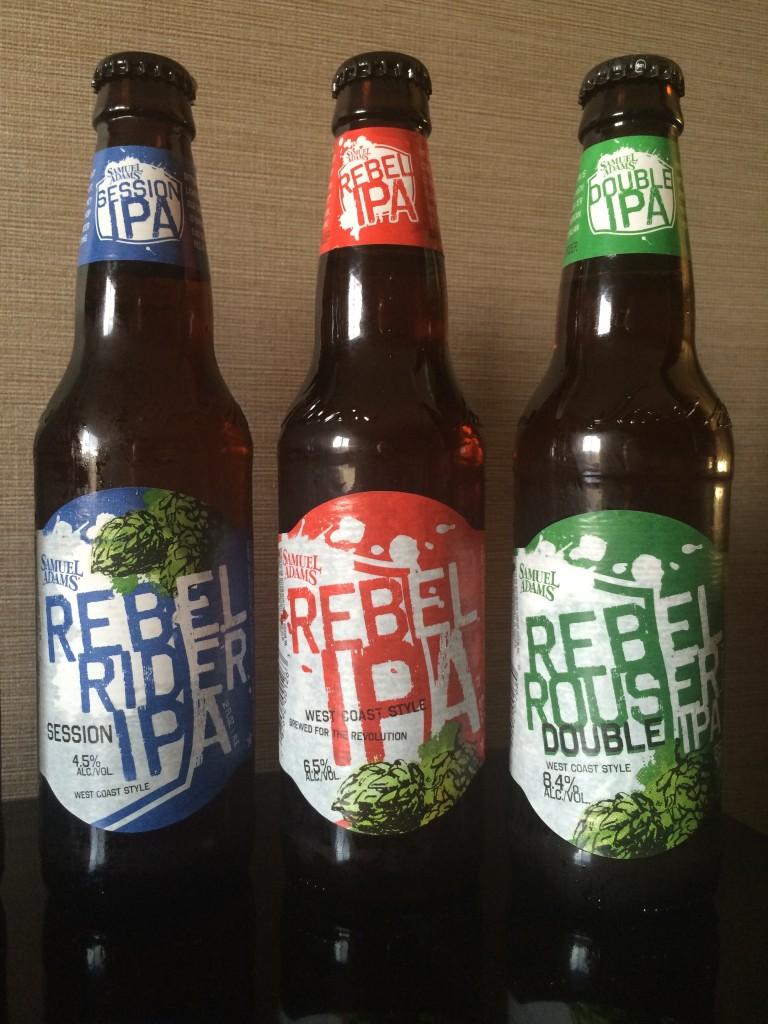 Samuel Adams Rebel Ride Session IPA, Rebel IPA, Rebel Rouser Double IPA.JPG