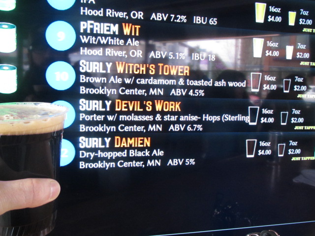 Drinking Surly Damien, a small beer made from the runnings of Darkness. A rare treat to find in Oregon