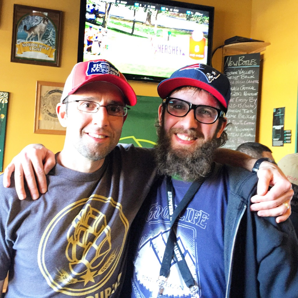 Mario (left) and Angelo De Ieso II hanging out at BREWPUBLIC and Alebriated's Beers of Enchantment event featuring beer of New Mexico