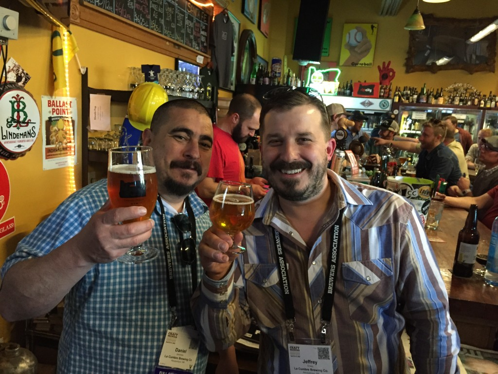 Head brewer Daniel Jaramillo (left) and President/Brewmaster Jeff Erway of La Cumbre Brewing from New Mexico at The BeerMongers for CBC 2015
