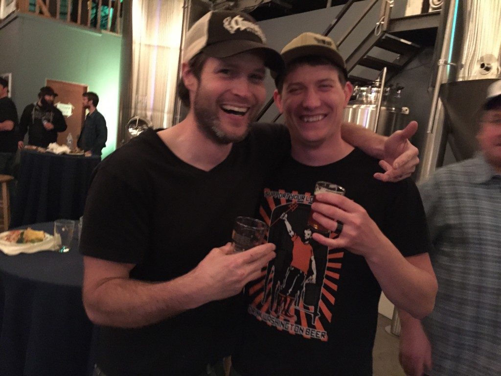 Sean Thommen head brewer at Amnesia (left) and Rodney Stryker brewer and co-owner at Heathen get down with some tasty Washington beer (many of which they brew)