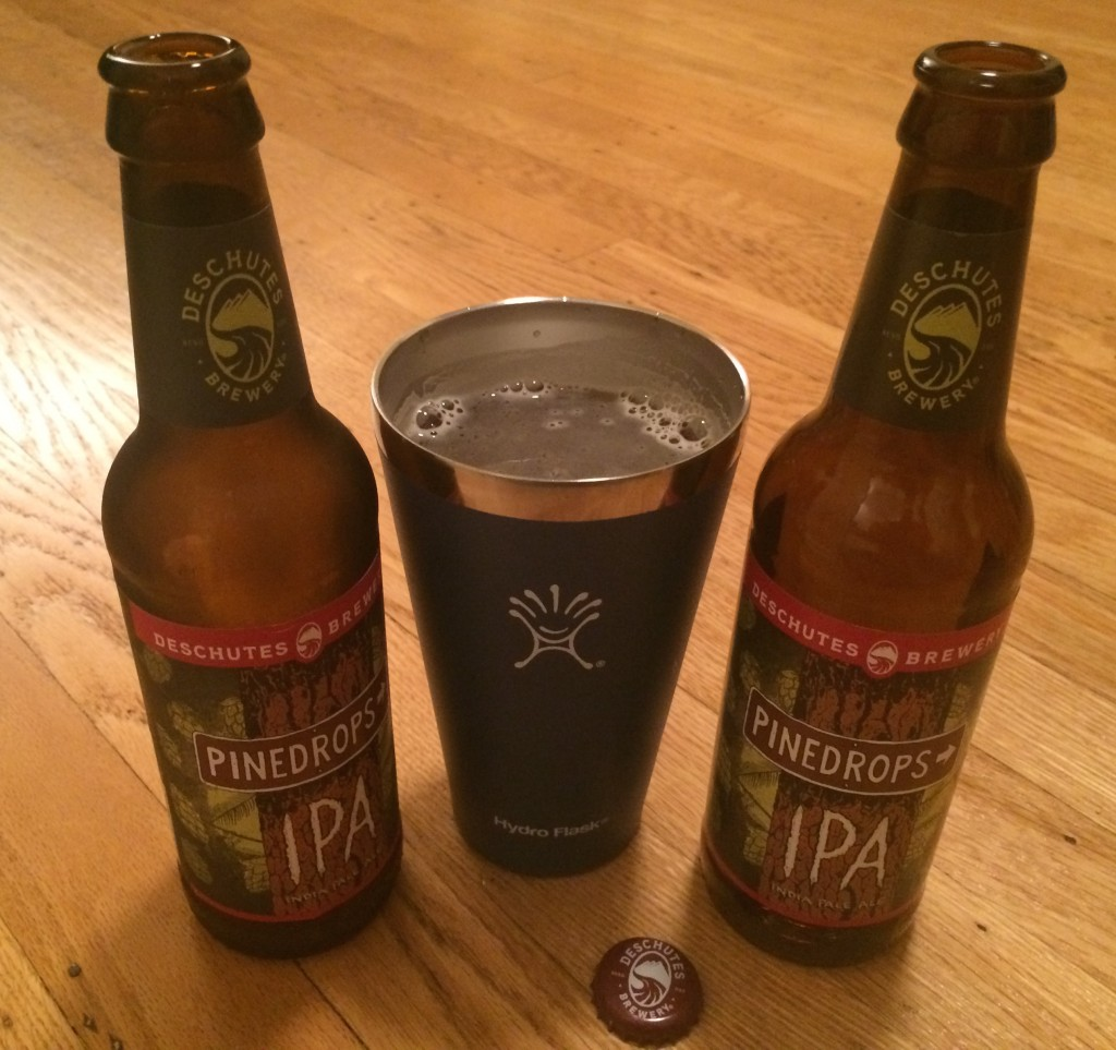 Deschutes Brewery Pinedrops IPA and the new Hydro Flask Pint ContainerJPG