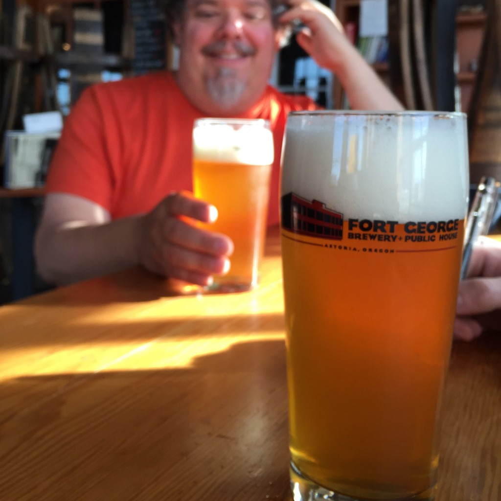 Larry Crane enjoys a Beta IPA 7.0 during a discussion about the upcoming Overdub IPA collaboration