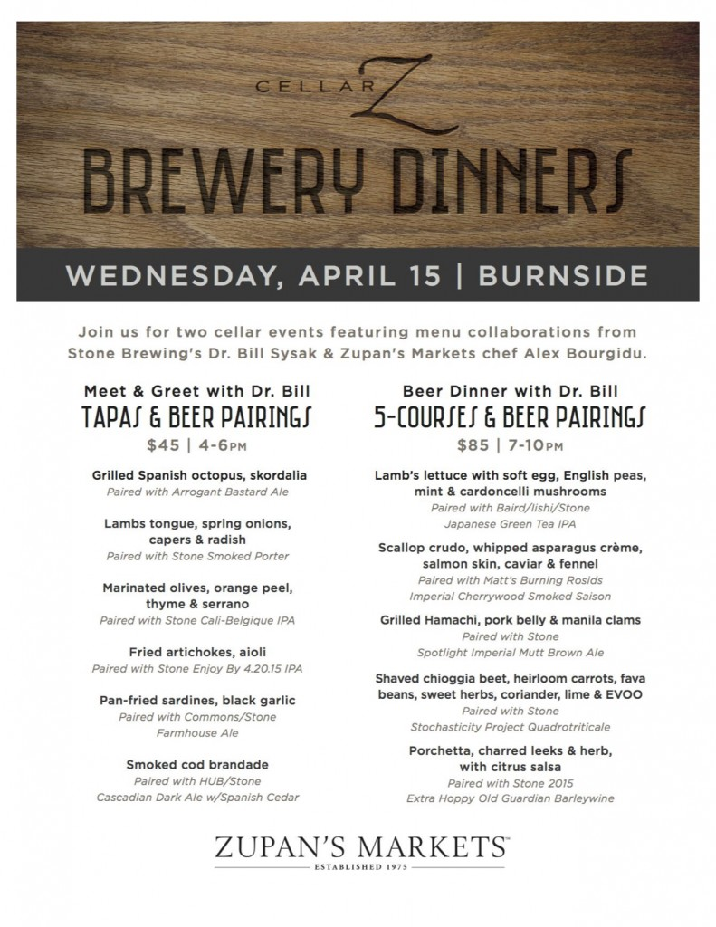 Stone Brewing Brewery Dinner April15 Menu at Zupans