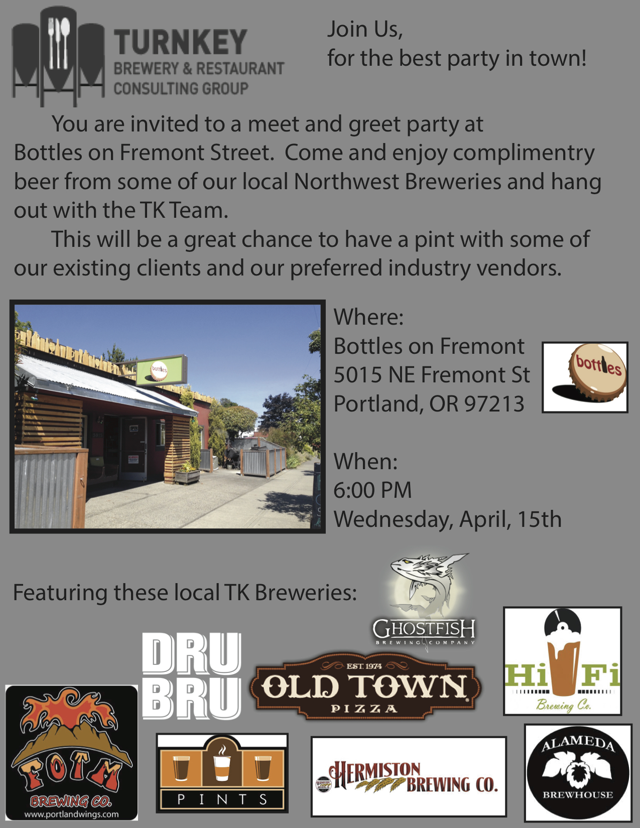 Turnkey Brewery & Consulting Meet and Greet at Bottles