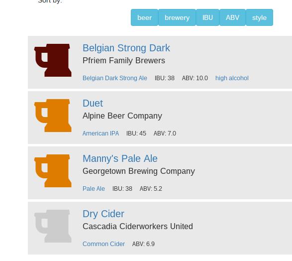 BeerPickr Screenshot of Beer Info