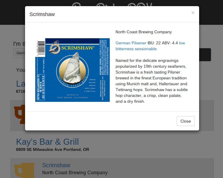 BeerPickr Screenshot of Brewery Info